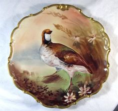 "OUTSTANDING ANTIQUE LIMOGES FLAMBEAU GROUSE GAME BIRD 10"" PLATE HAND-PAINTED #limoges"
