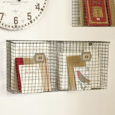 Wire Wall Hanging Baskets rustic style metal wire basket double wall pocket letter holder