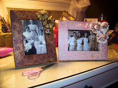 How to cover a frame with scrapbooking paper and embellishments