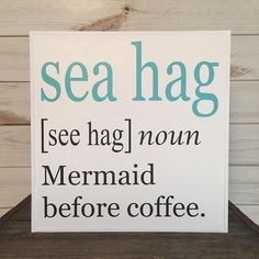 Mermaid sign, wood beach sign coastal decor whimsical beach sign beach quote ocean decor beach lover gift mermaid gift beach house decor * This whimsical sea hag/mermaid sign will make you smile every time you see it! It's crisp, clean colors are a great Mermaid Sign, Mermaid Gifts, Mermaid Quotes, Mermaid Board, Cool Ideas, Console Table, Palette Design, Beach Wood Signs, Coffee Bar Signs