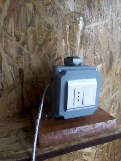 Industrial table lamp. Metal box. Fabric cable.