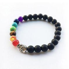 Multi-Colored 7 Chakra Bead Buddhist Charm Bracelet
