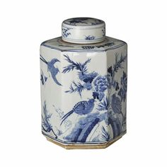 Beautiful Blue and White Porcelain Hexagonal Tea Jar Bird Motif H – Asian Style Furnishing