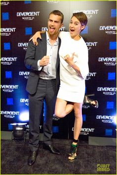 Funny. Shailene Woodley and Theo James. Atlanta #Divergent Premiere 3/03/2014