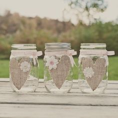 10 burlap heart mason jars. Guestbook pen jars. Styles Jars and Cans. $110.00.