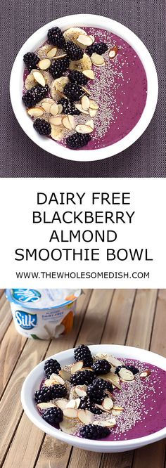 #ad Dairy-Free Blackberry Almond Smoothie Bowl - The perfect flavorful, filling breakfast for #TopItTuesday @LoveMySilk