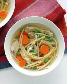 Six-Ingredient Chicken Noodle Soup. Homemade chicken noodle soup in under an hour! This classic soup delivers hearty flavor and makes chicken for later in the week. Homemade Chicken Soup, Chicken Noodle Soup, Chicken Soup Recipes, Cooked Chicken, Shredded Chicken, Chicken Club, Chicken Soups, Ginger Chicken, Recipe Chicken