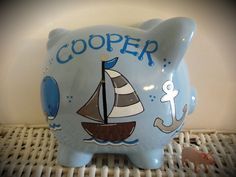 Personalized Hand Painted Piggy Bank With by thepaintedpiggy, $30.00