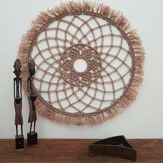 Macrame Wall Hanging - Round Mandala - Boho Decor or Hamptons Style - Made from Pottery coloured cord by SueVcreative on Etsy Hanging Wall Art, Wall Art Decor, Wall Hangings, Bohemian Art, Macrame Knots, Boho Decor, Handmade, Etsy, Dream Catcher