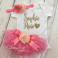 PERSONALIZED gold glitter bodysuit coral pink and peach embellished flower tutu skirt bloomers newborn infant toddler little baby girl take home outfit coming home hospital outfit