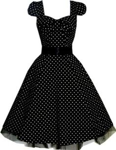 Pretty Kitty Fashion 50s Polka Dot Schwarz Weiß Cocktail Kleid: Amazon.de: Bekleidung