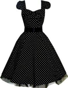 Pretty Kitty Fashion 50s Polka Dot Schwarz Weiß Cocktail Kleid: Amazon.de: Bekleidung