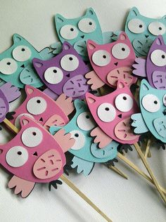 Owl Cupcake Toppers Set of 10 Pink/Purple/Aqua Mix Owl Crafts, Diy Arts And Crafts, Paper Crafts, Owl Parties, Owl Birthday Parties, Animal Projects, Craft Projects, Art For Kids, Crafts For Kids