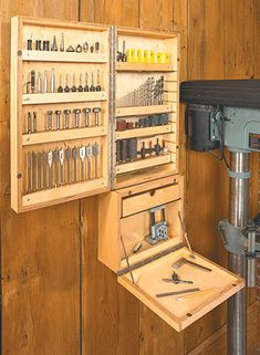 Drill Press Accessory Cabinet & Woodworking Project & Woodsmith Plans Drill Press Accessory Cabinet Source by thehomewoodwork The post Drill Press Accessory Cabinet appeared first on Cassidy Woodworking.