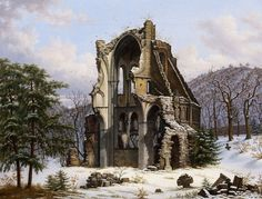 Circle of Wilhelm Steuerwaldt (1815-1871) - The monastery ruins of Heisterbach in winter, oil on canvas, 47 x 62 cm.