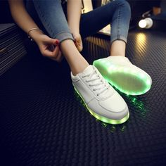 Amazing Unisex Light-Up L.E.D. Sneakers - USB Rechargeable Soles Light up in 7 Colors!These sneakers provide an *explosion* of light that lasts for 8-10 hours on a single charge!Super-bright LED lights in Red, Green, Blue, Yellow, Turquoise, Purple & White.Choose from solid steady colored light, or random patterns of alternating glowing lights