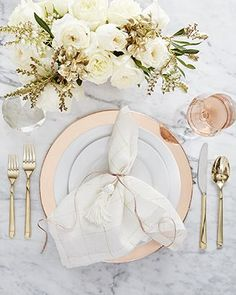 Glam table setting featuring Aspen Dinnerware with Copper Plated Charger and Emory Gold Flatware Wedding 2017, Our Wedding, Wedding Ideas, Wedding Venues, Wedding Rings, Brunch Wedding, Wedding Vows, Wedding Locations, Perfect Wedding