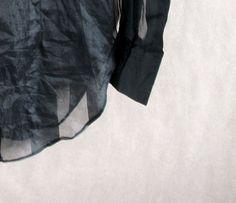 Sheer Black Blouse  1990s Minimalist Boho Goth See by vintachi, $19.99