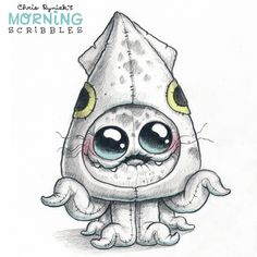 Official Post from Chris Ryniak: Squid suit! Cute Monsters Drawings, Cool Art Drawings, Easy Drawings, Cartoon Kunst, Cartoon Drawings, Cartoon Art, Monster Drawing, Monster Tattoo, Mermaid Drawings