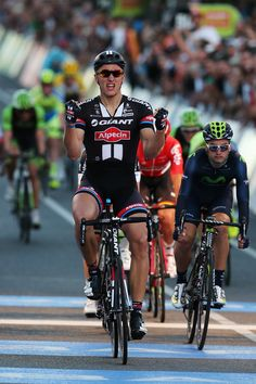 Super pic #MarcelKittel #TeamGiantAlpecin celebrating after his first win of 2015 at the People's Choice Classic! #TDU