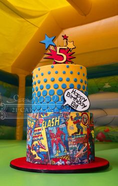Cake Wrecks - Home Avengers Birthday, Superhero Birthday Party, 5th Birthday, Flash Birthday Cake, Birthday Cakes, Happy Birthday, Pastel Marvel, Bolo Flash, Flash Cake
