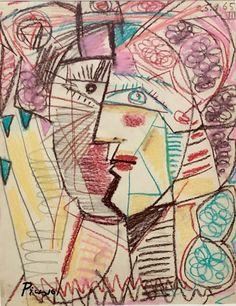 PABLO PICASSO FIGURATIVE OIL PASTEL Pablo Picasso Drawings, Picasso Art, Picasso Paintings, Picasso Sketches, Oil Paintings, Landscape Paintings, Acrylic Painting Lessons, Watercolor Paintings Abstract, Abstract Portrait
