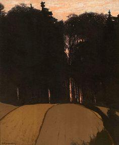 Gustav Kampmann (All. 1859-1917),Soirée d'automne, 1900, lithographie en couleurs sur papier vélin, 45,3 x 37,1cm, Ottawa, Musée des Beaux-arts du Canada