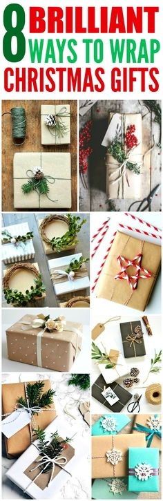 These 8 Creative Ways to wrap Christmas Presents are THE BEST! I'm so glad I found these AWESOME tips! Now I can impress friends and family with my skill! Definitely pinning!