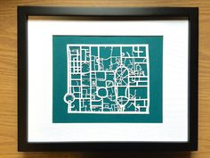 Paper cut map of University of Toronto Campus by CUTdesignsrt Cut Paper, Paper Cutting, 11x14 Frame, Faculty And Staff, Downtown Toronto, University Of Toronto, Black Wood, Swatch, Maps