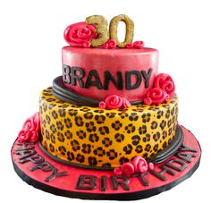 Shiny Leopard custom cake