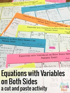 Equations with Variables on Both Sides Number Line Activity for Algebra 1 Algebra Activities, Maths Algebra, Teaching Math, Fun Activities, Math Games, Math 8, Math Fractions, Teaching Tools, Algebra Projects