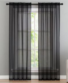 The sheer design of this Infinity panel from Victoria Classics allows you to stylishly fill your room with gently-filtered light while still maintaining your privacy. Black Sheer Curtains, Sheer Curtains Bedroom, Sheer Curtain Panels, Curtains Living, Window Panels, Panel Curtains, Voile Curtains, Fachada Colonial, Stores