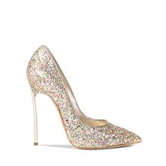 #casadeiholidays - BLADE Casadei's iconic #Blade pump in multicolor glitter shades with cream candylux piping