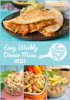 This week's dinner menu includes easy ideas like Sriracha Ranch Chicken Salad, Pizza Sliders, Enchilada Chicken Quesadillas, and lots more!