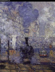 antique painting van gogh, monet | Claude Monet anglok, gare saint lazare