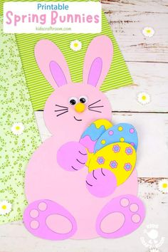 Make adorable Spring Bunny Crafts. Each cute rabbit is holding a bunch of flowers, pile of tasty carrots or a hoard of decorated Easter eggs. This is such a cute spring craft and Easter craft for kids. (Printable B/W and colour template.) #kidscraftroom #kidscrafts #eastercrafts #springcrafts #preschoolcrafts #easterbunny Easter Craft Activities, Toddler Learning Activities, Easter Crafts For Kids, Preschool Crafts, Creative Arts And Crafts, Drawing Activities, Bunny Crafts, Bunch Of Flowers, Spring Colors