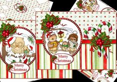 Owl Christmas choice of toppers mini kit on Craftsuprint designed by Carol Smith - a mini kit for Christmas which has the one main topper (not two) which has a choice of two Owl toppers one with the owls sat in the tree singing Christmas Carols with his pals, and one with baby owl giving his mum a Christmas present, so you can chose which one to use can also have as either quick card or decoupage so a very versatile kit. Co-ordinating tags say merry Christmas in French, Spanish, Danish and…