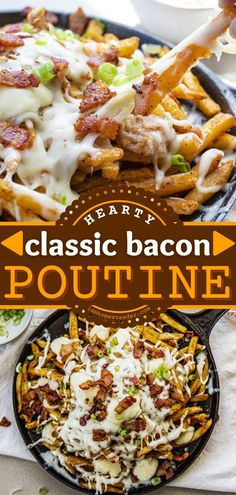 This Bacon Poutine Recipe is a football party appetizer recipe that's piled high with cheese curds, homemade gravy, mozzarella, and bacon! This Gameday food is greasy and hearty! It's the best snack idea for Gameday!