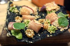 New favorite dish added by Contributing Chef Michael Anthony of Gramercy Tavern. #Hamachi #avocado and #seaweed #cracker from State Bird Provisions. #fish #seafood #nori #fried #tempura #raw #sashimi #crunchy #crispy #sesame #radish #vegetables #puree #eat #hungry #appetizer #food #instagood #yummy #dinner #sanfrancisco #SF #chefsfeed