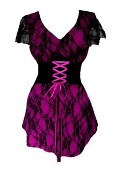Dare To Wear Victorian Gothic Women's Plus Size Sweetheart Corset Top - Price: $59.99 - $65.95: Corset lace-up under empire-waisted bodice, spaghetti ties, and baby-doll skirt for a figure-flattering fit!