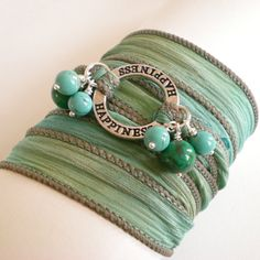 silk ribbon wrap bracelet yoga inspired turquoise by jcudesigns, £12.00
