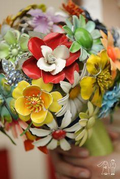 Colorful antique brooch bouquet!