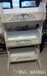 rescued fruit stand. love the stenciling