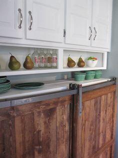 Barn Door Distressed Wood Cabinet - Custom Kitchen Furniture - Reclaimed Wood look. $990.00, via Etsy.