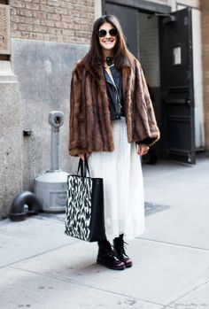White skirt, fur coat, leather jacket, zebra tote, sunglasses / Garance Doré
