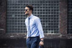 MARCEL FLORUSS  |  Shades (Ray Ban) / Shirt (Eton) / Pants (J.Lindeberg) / Watch (Triwa) / Sneakers (Nike) / Bag (Ben Minkoff) / Tie (Reiss) / Tie Bar (The Tie Bar)