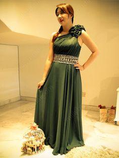 A-line One Shoulder Chiffon Floor-length Flower(s) Prom Dresses at Millybridal.com
