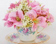 Teacup Flowers, Pink Honeysuckle, Vintage Cup & Saucer, Teacup Silk Flower Arrangement, Artificial Flower Arrangement, Silk Floral, Floral,