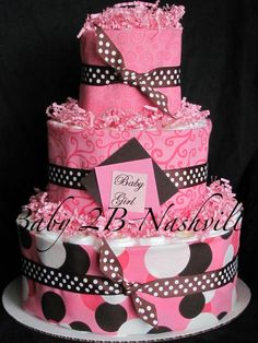 baby girl shower diaper cakes | Diaper Cake for Girls Pink Brown Dot Diaper Cake Baby Shower ...