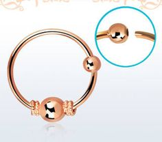 Nose-Hoop-Rose-Gold-22g-0-6mm-Balinese-Wire-Design-Single-Pair-3mm-Ball-New-US